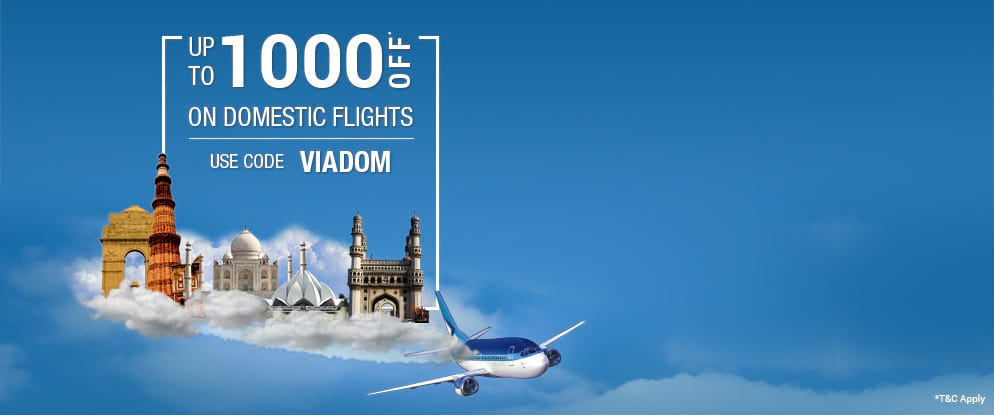 viadom offers up to rs 1000 off on domestic flights via com